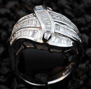 Baguettdiamten Weissgold Ring